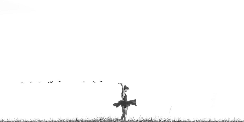 bailarina en el campo con pájaros en el cielo