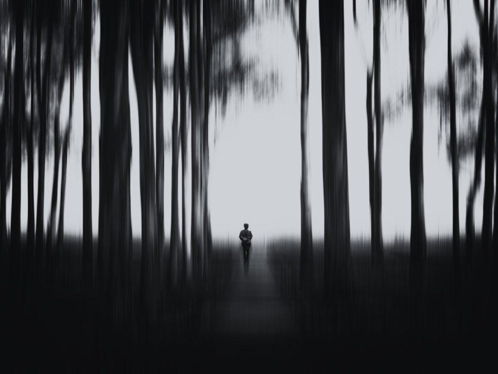Figura en el bosque en blanco y negro