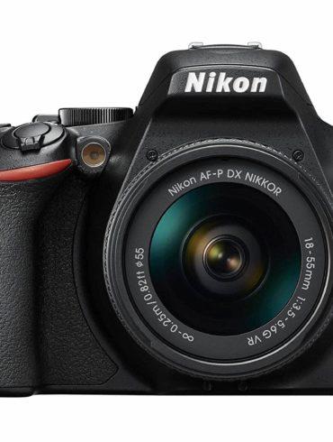 Vista frontal de la cámara réflex Nikon D3500