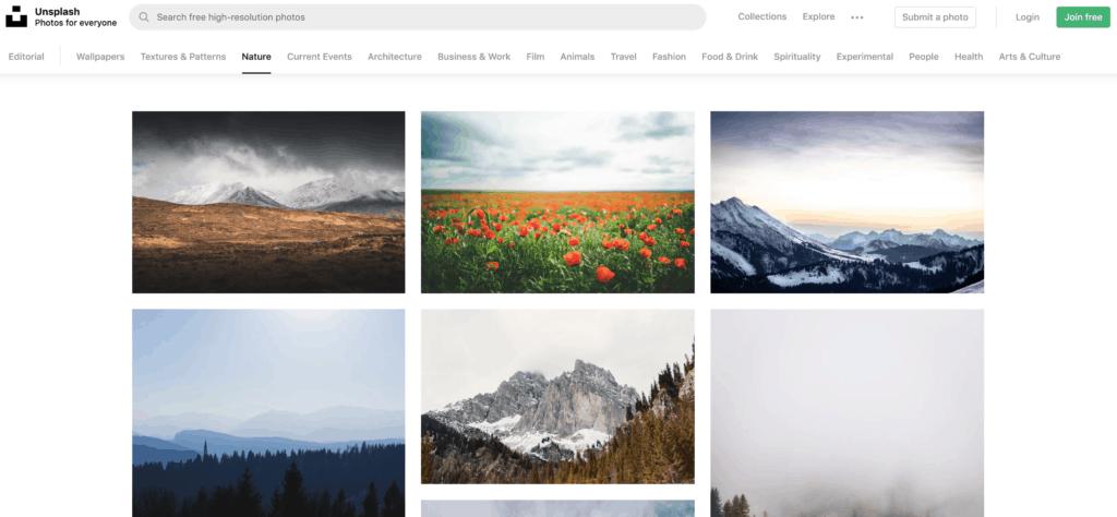 Interfaz de la web de fotos Unsplash