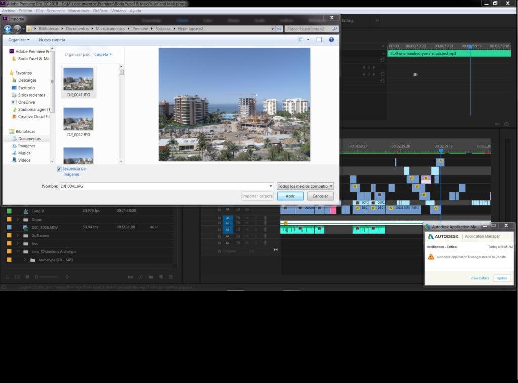Captura de pantalla de ejemplo de post producción de hyperlapse