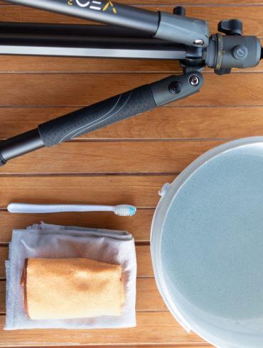 materiales para limpiar un trípode