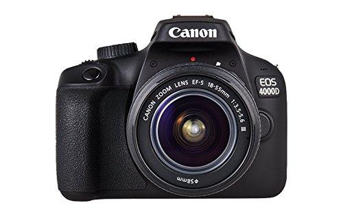 Vista frontal de la cámara 4000D de Canon