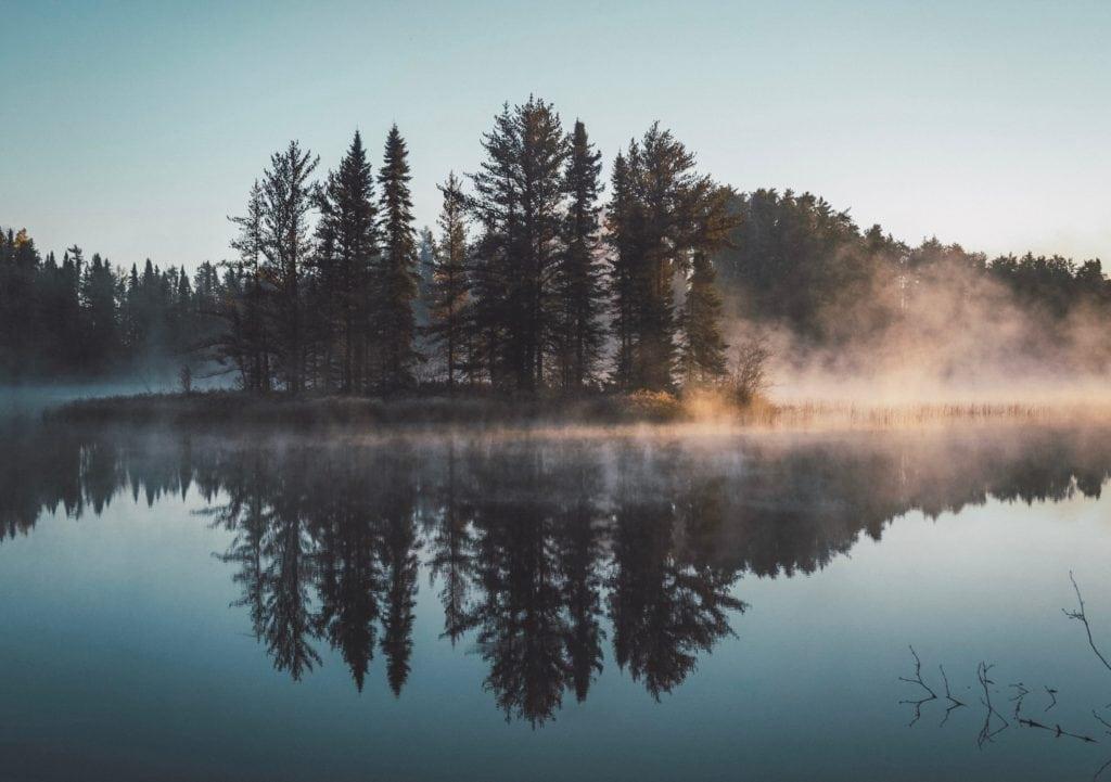 Paisaje con reflejo en el lago y niebla