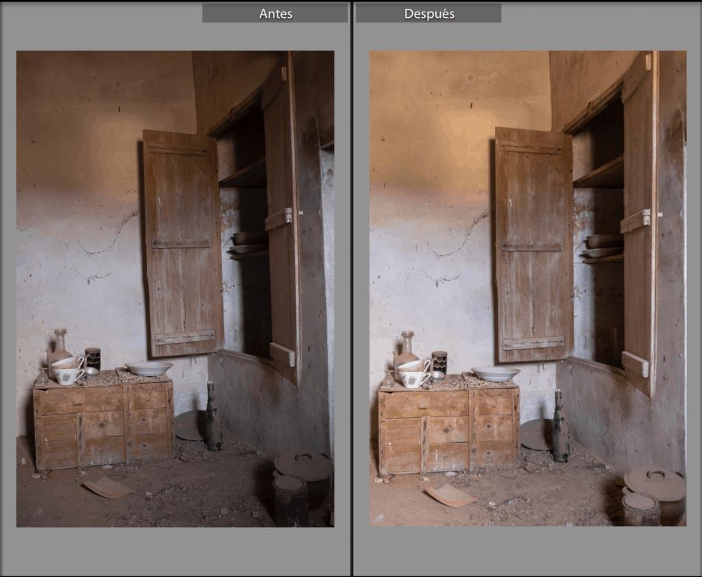 Comparación de antes y después de aplicar ajustes en Lightroom