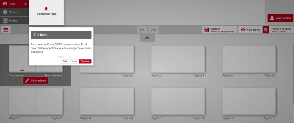 Captura de pantalla del taller de CEWE para crear álbumes