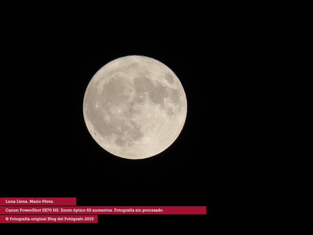 La luna tomada por el zoom de la Powershot SX70