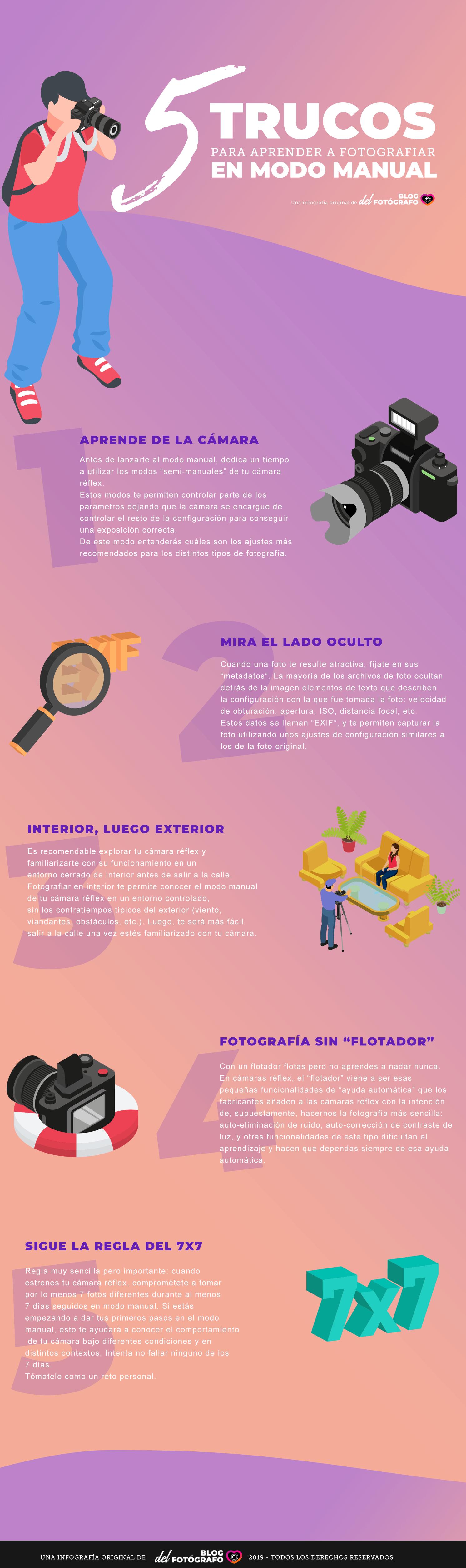 Infografía Trucos para tomar fotos en modo manual