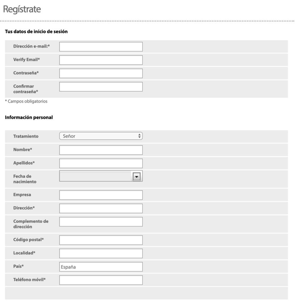 Datos para el registro