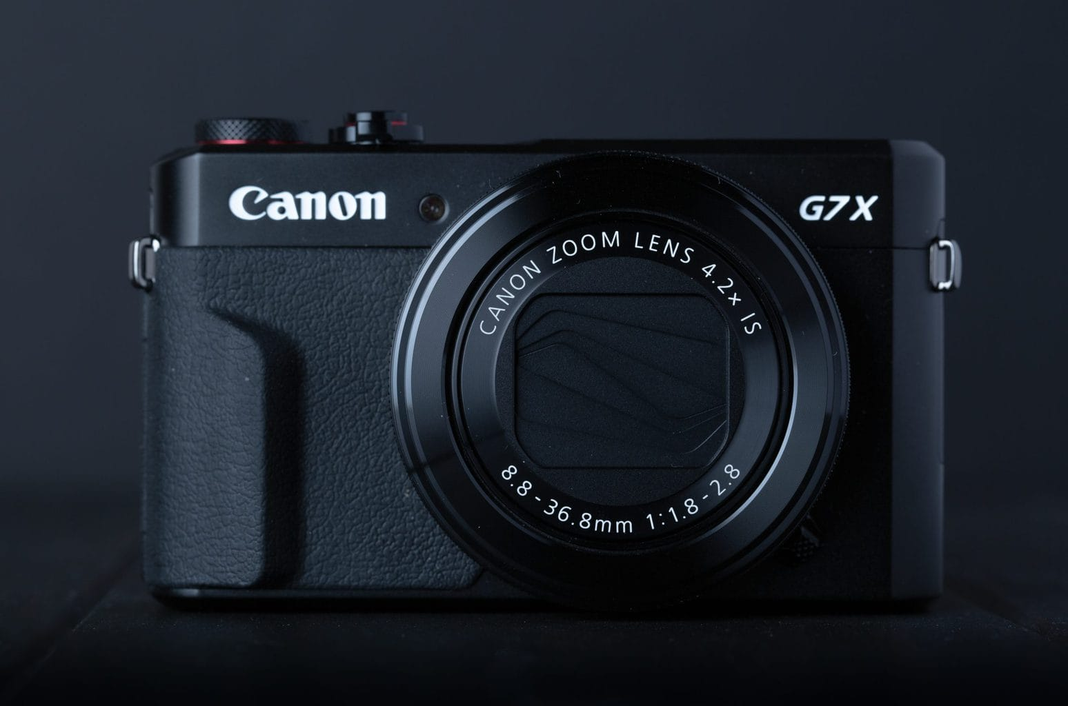 frente de la Canon powershot G7X Mark II