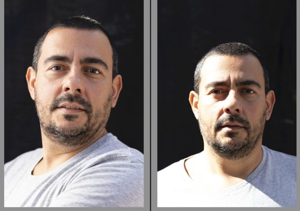 Comparación de retrato con y sin difusor