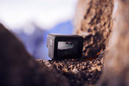 vista de pantalla de una gopro en el monte
