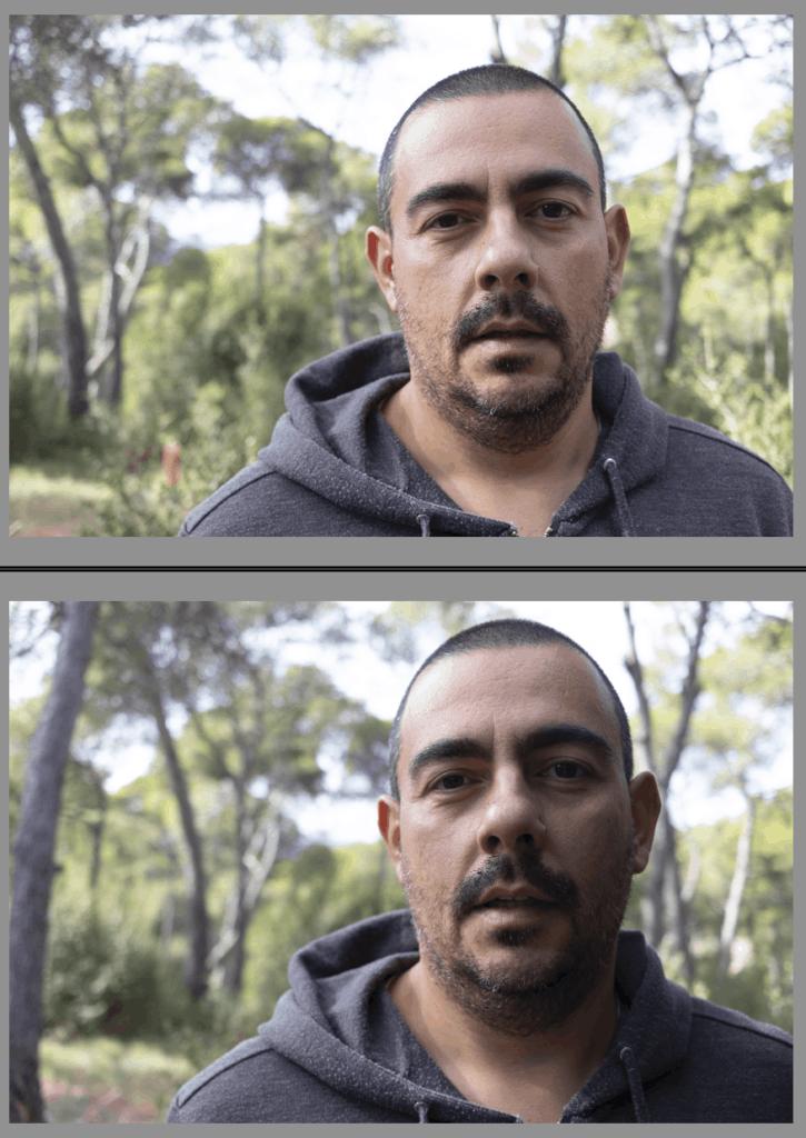 Comparativa utilizando reflector negro y sin reflector