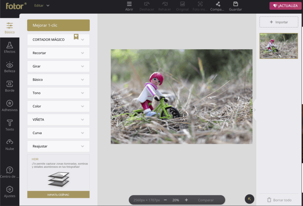 Interfaz del editor on line Fotor