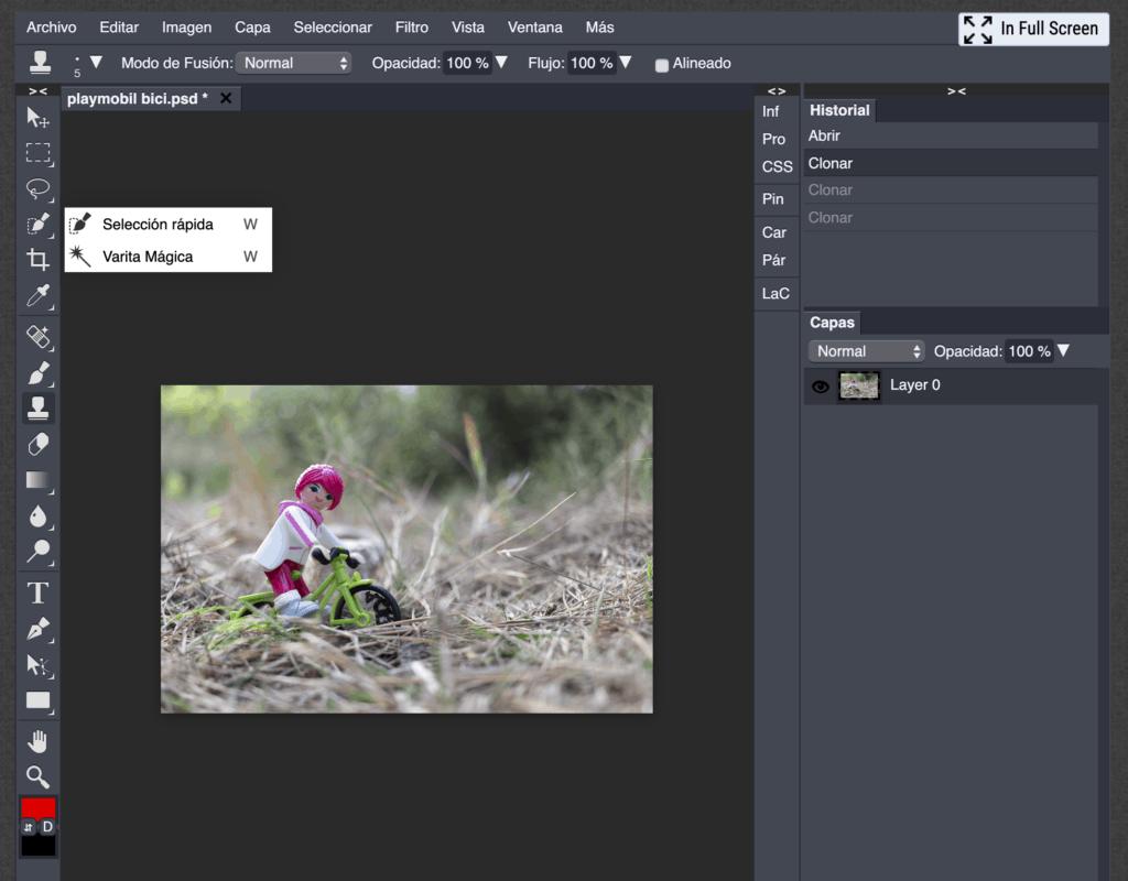 Interfaz del editor de fotos Photoshop Pro online