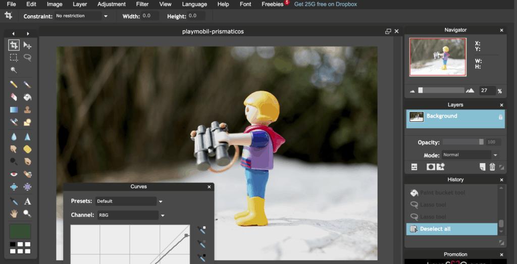 Interfaz de Pixlr editor