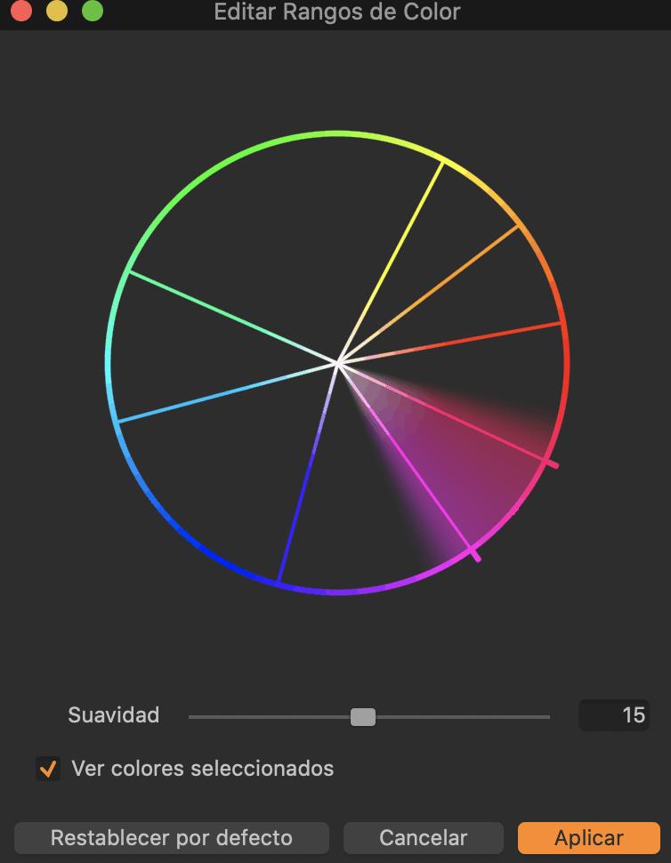 Captura de pantalla de ajustes de color en Capture One