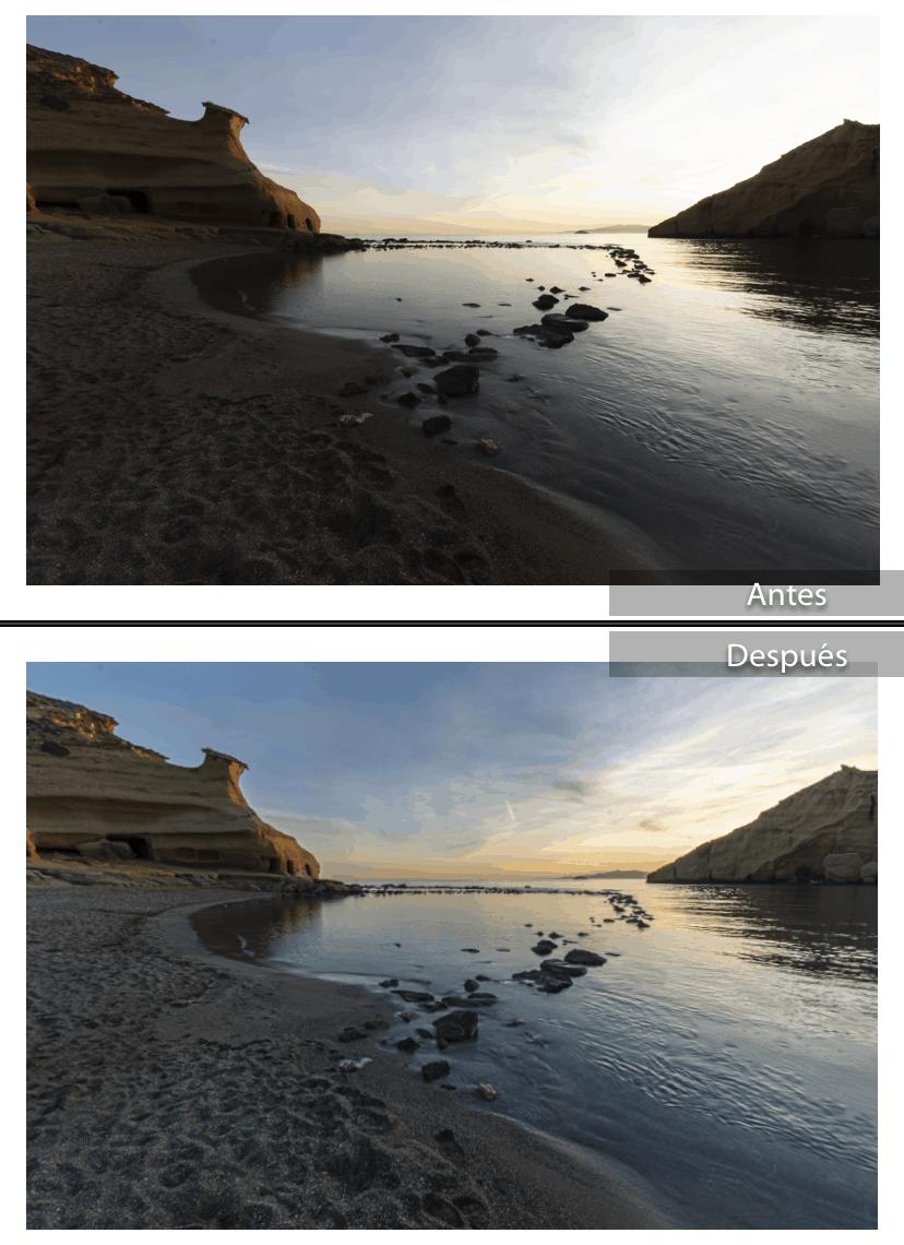Paisaje de playa en RAW con el antes y después de la edición