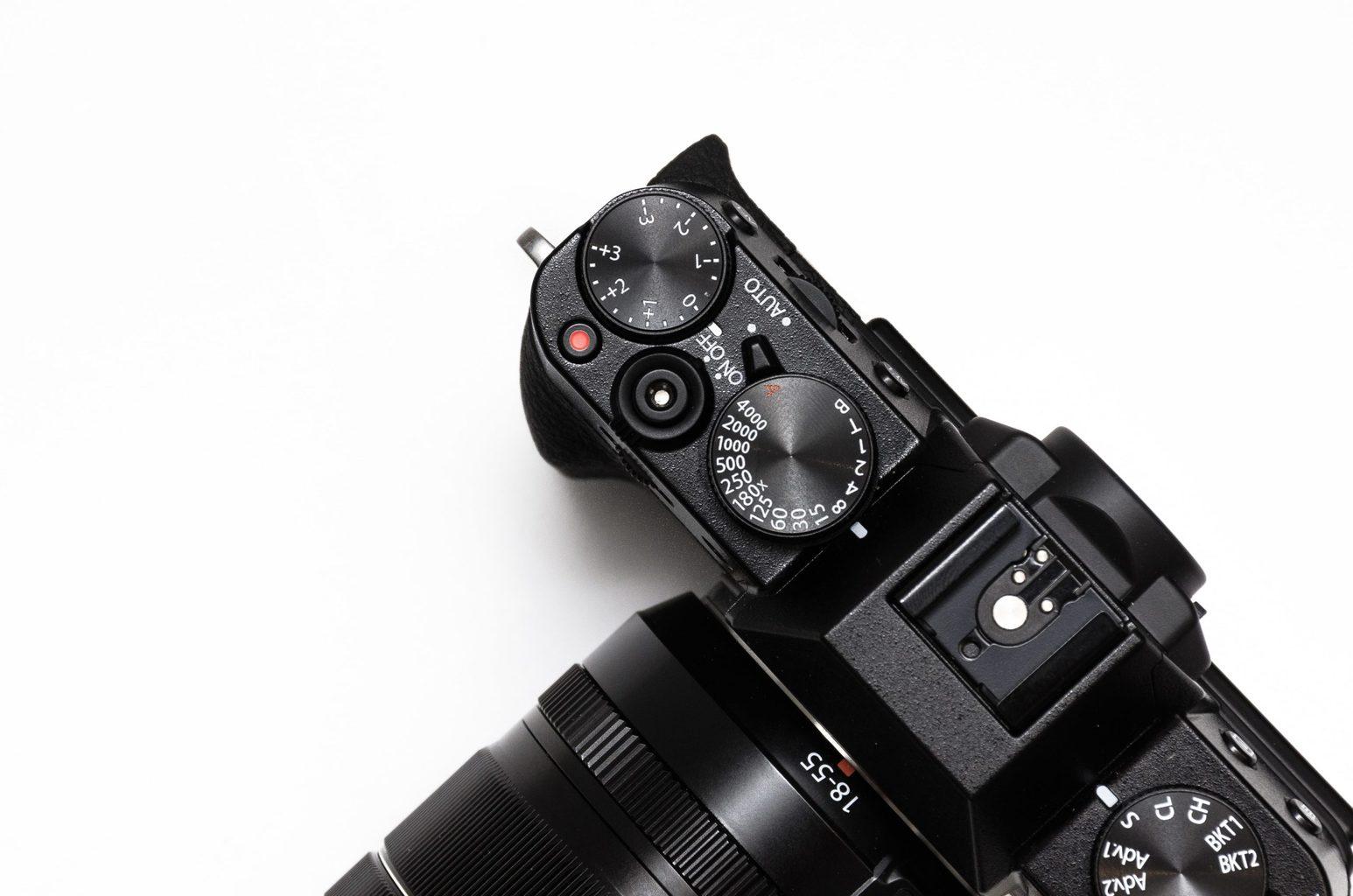 botones manuales de la cámara vistos desde arriba
