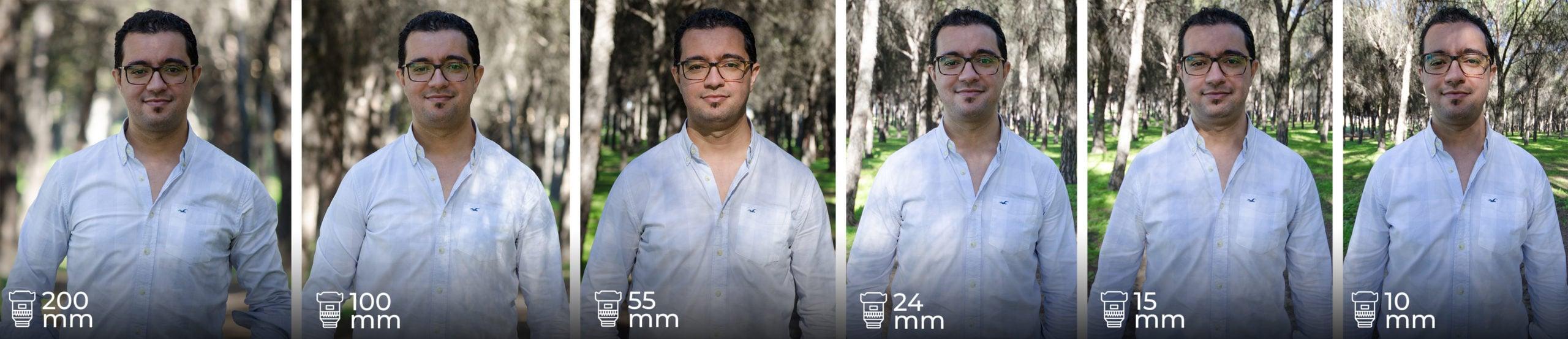 Comparativa de distorsión según la distancia focal