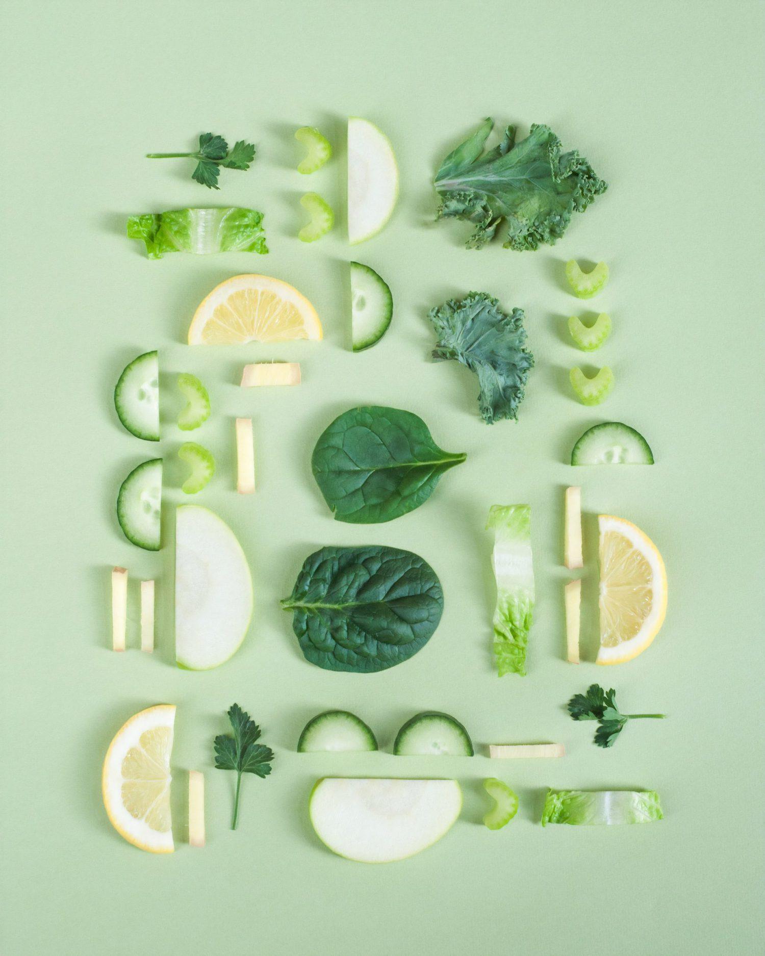 fotografía de alimentos en verde