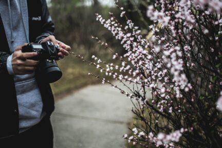 fotografo con plantas
