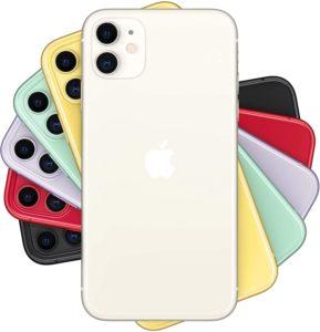 Varios iPhone 11 en distintos colores vistos desde su parte trasera