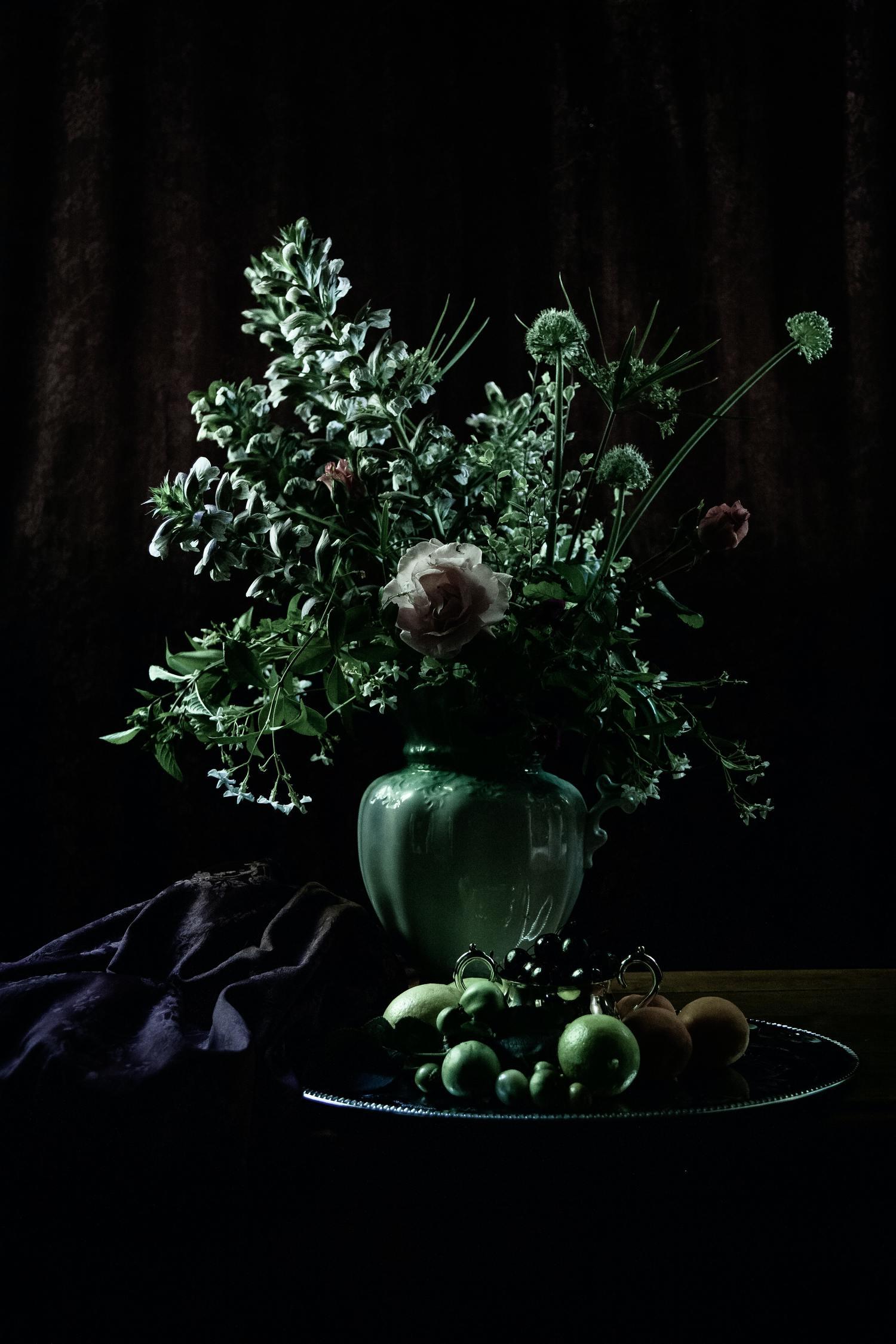 ramo de flores en tonos verdes