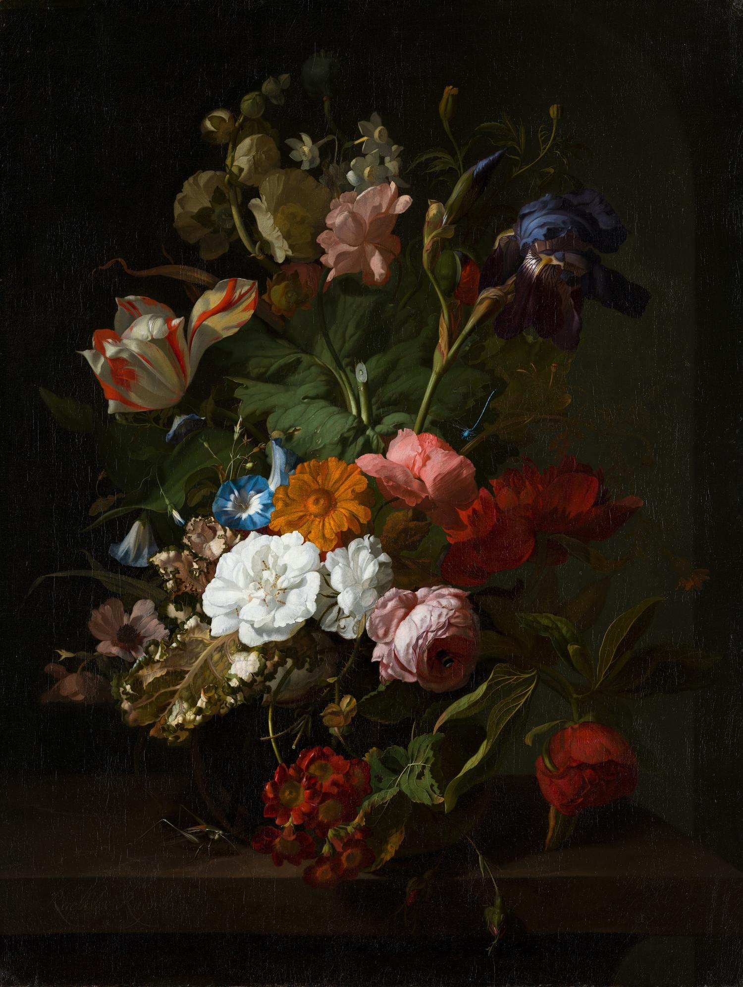Bodegón de flores pintado
