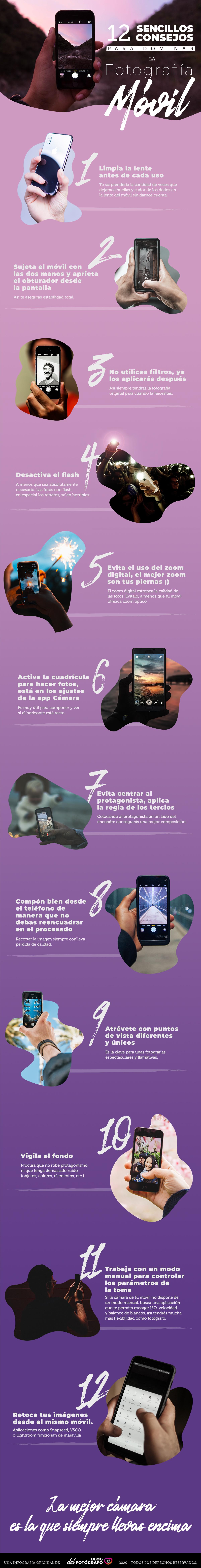 Infografía: 12 Consejos para Dominar la Fotografía Móvil
