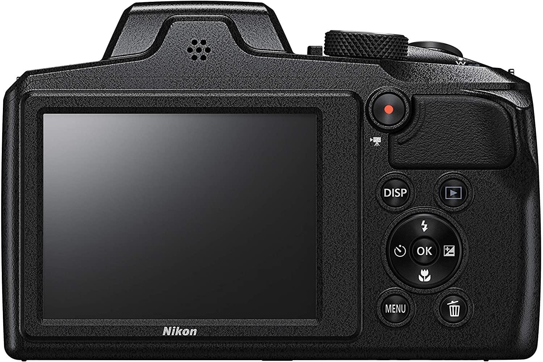 parte trasera y pantalla de la nikon coolpix B600