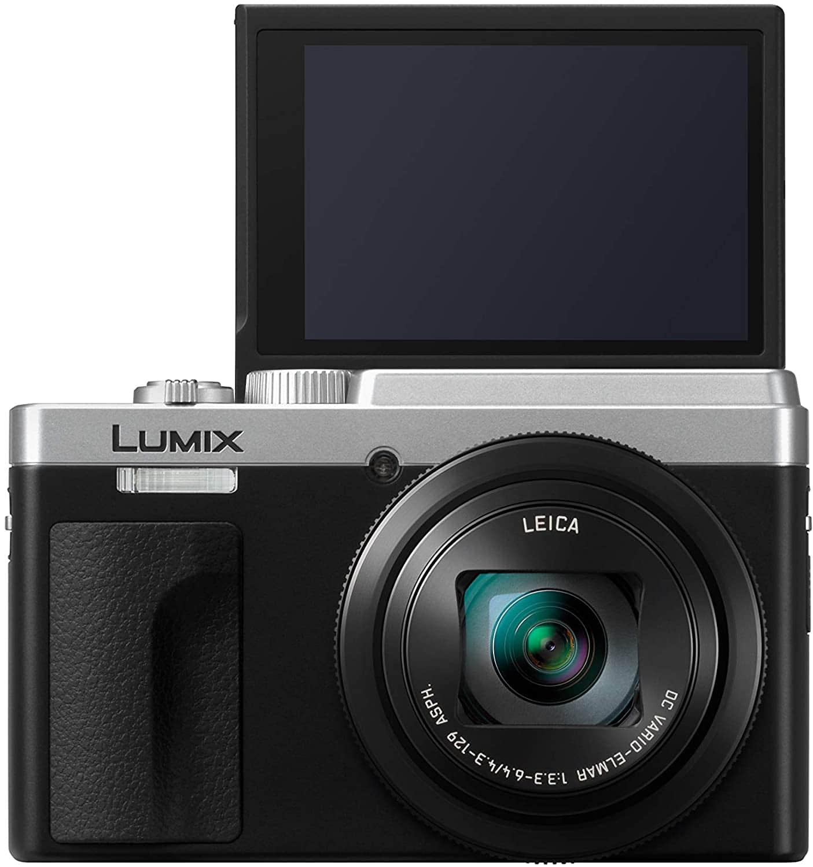 Lumix DC TZ95 frontal con pantalla abatible a la vista