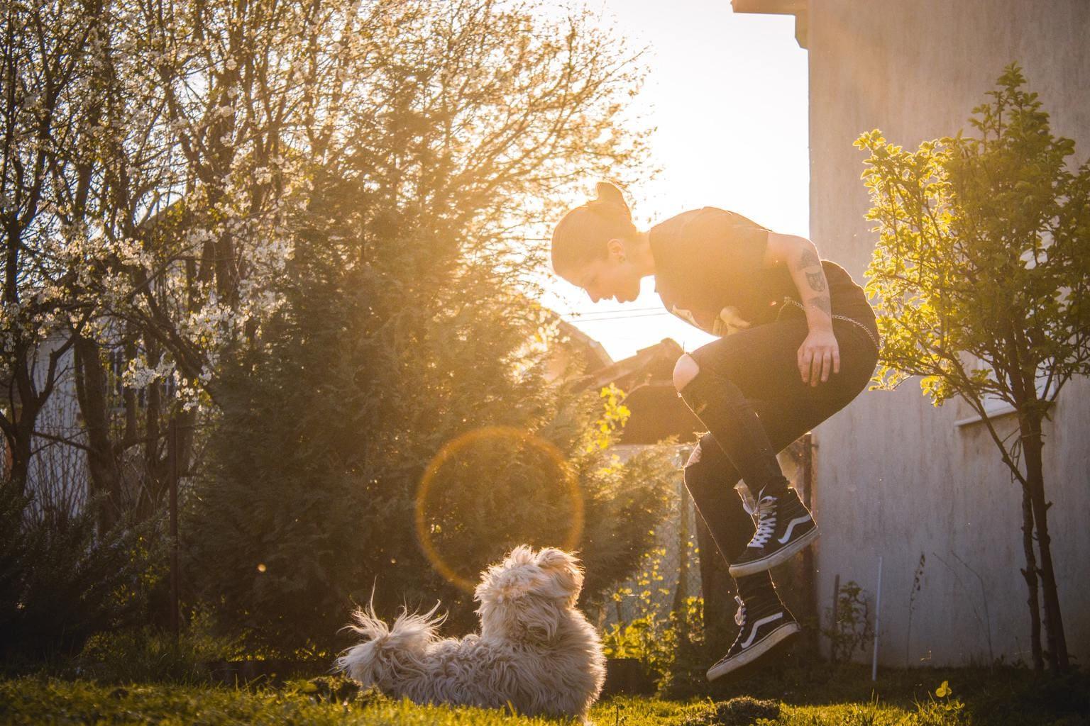 foto de perro con su dueña jugando