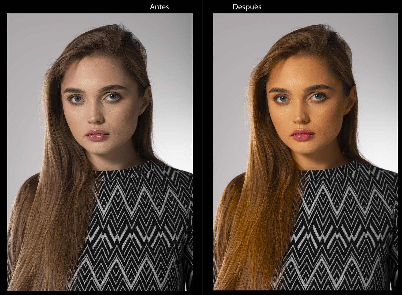 Ajuste de saturación antes y después