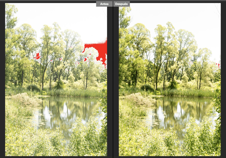 Imagen en Camera RAW señalando sobreexposición