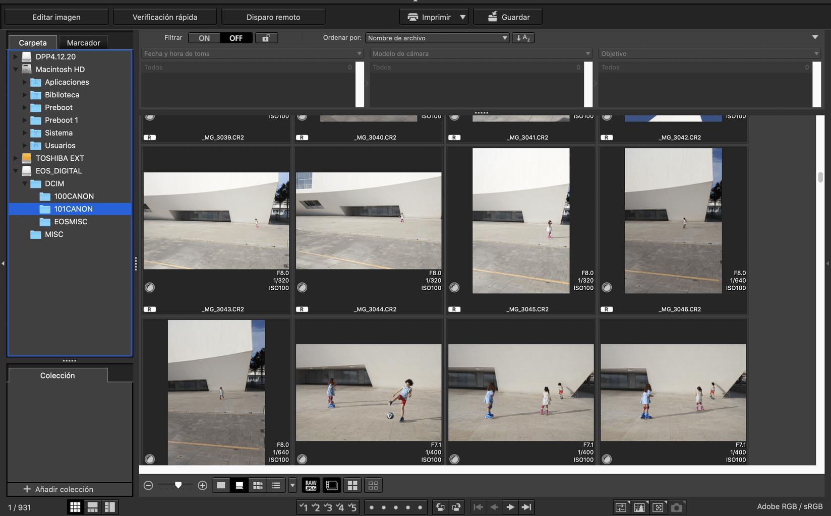 Captura de pantalla de la interfaz del sowftware de revelado de Canon