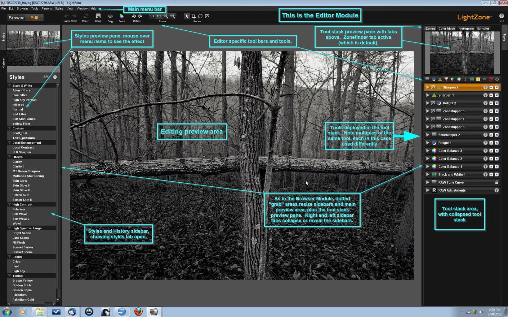 Interfaz del programa de edición de fotos Lightzone