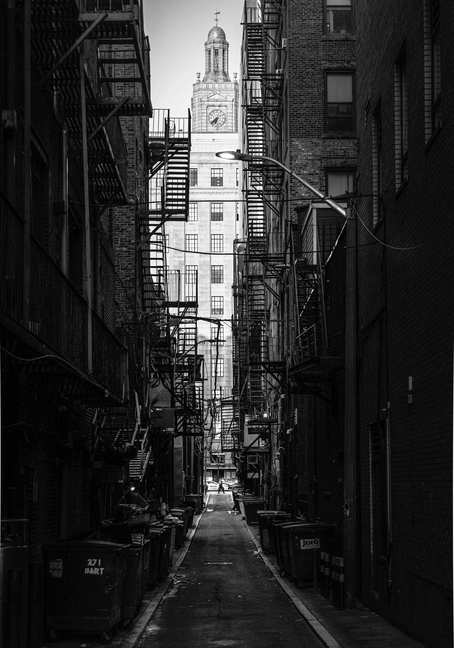 Paisaje urbano en blanco y negro compuesto con marco natural