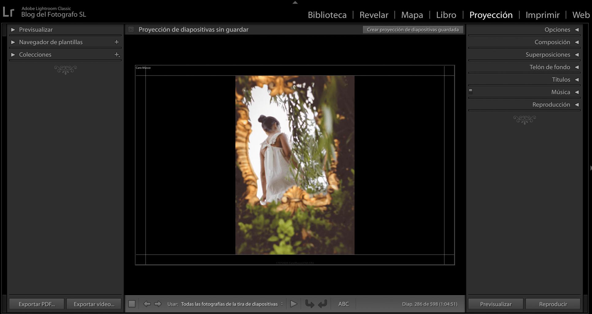 Módulo de proyección de diapositivas en Lightroom