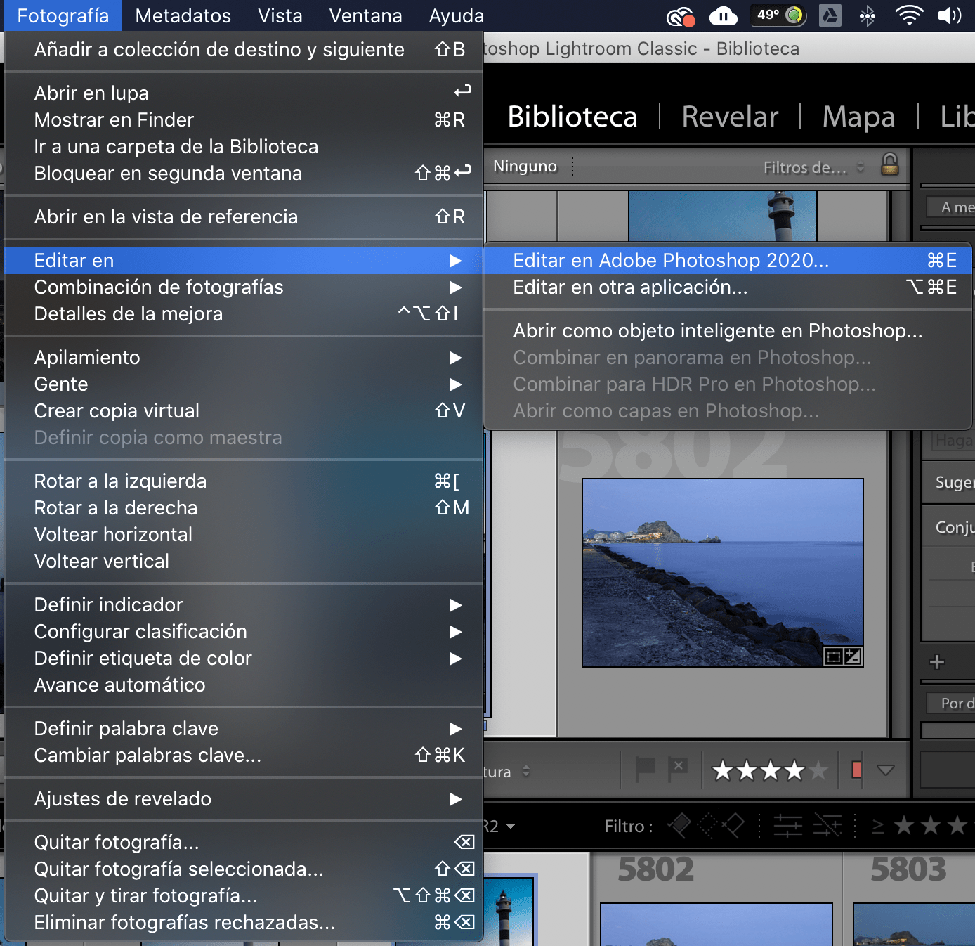 Captura de pantalla de ruta para pasar de Lightroom a Photoshop