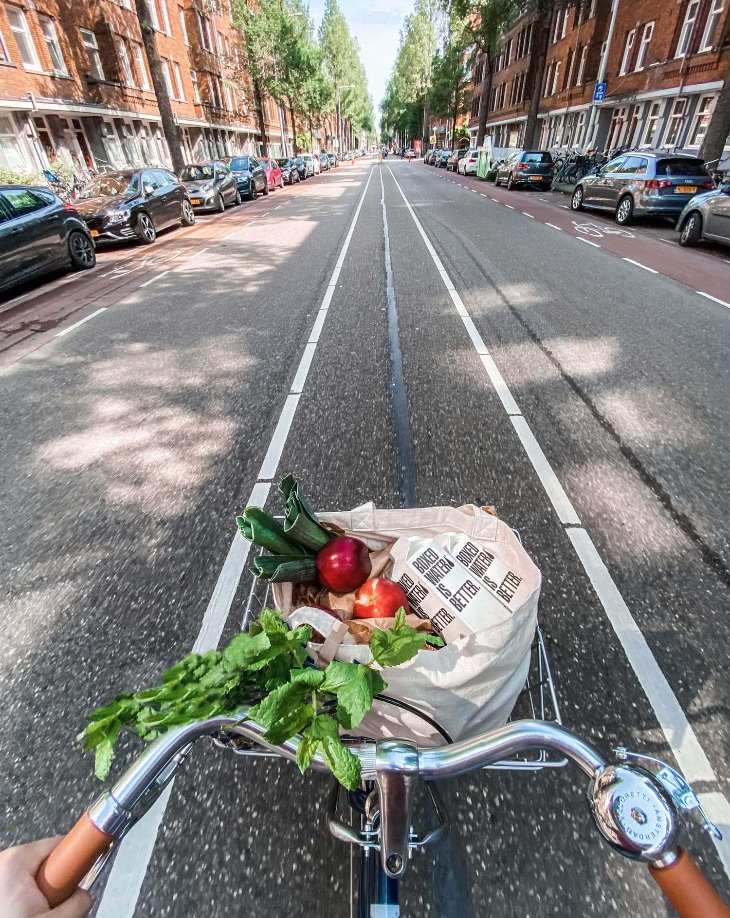 perspectiva de la calle desde una bici
