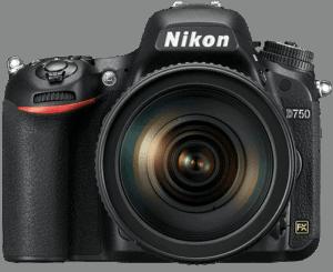 Vista frontal de la cámara Nikon D750
