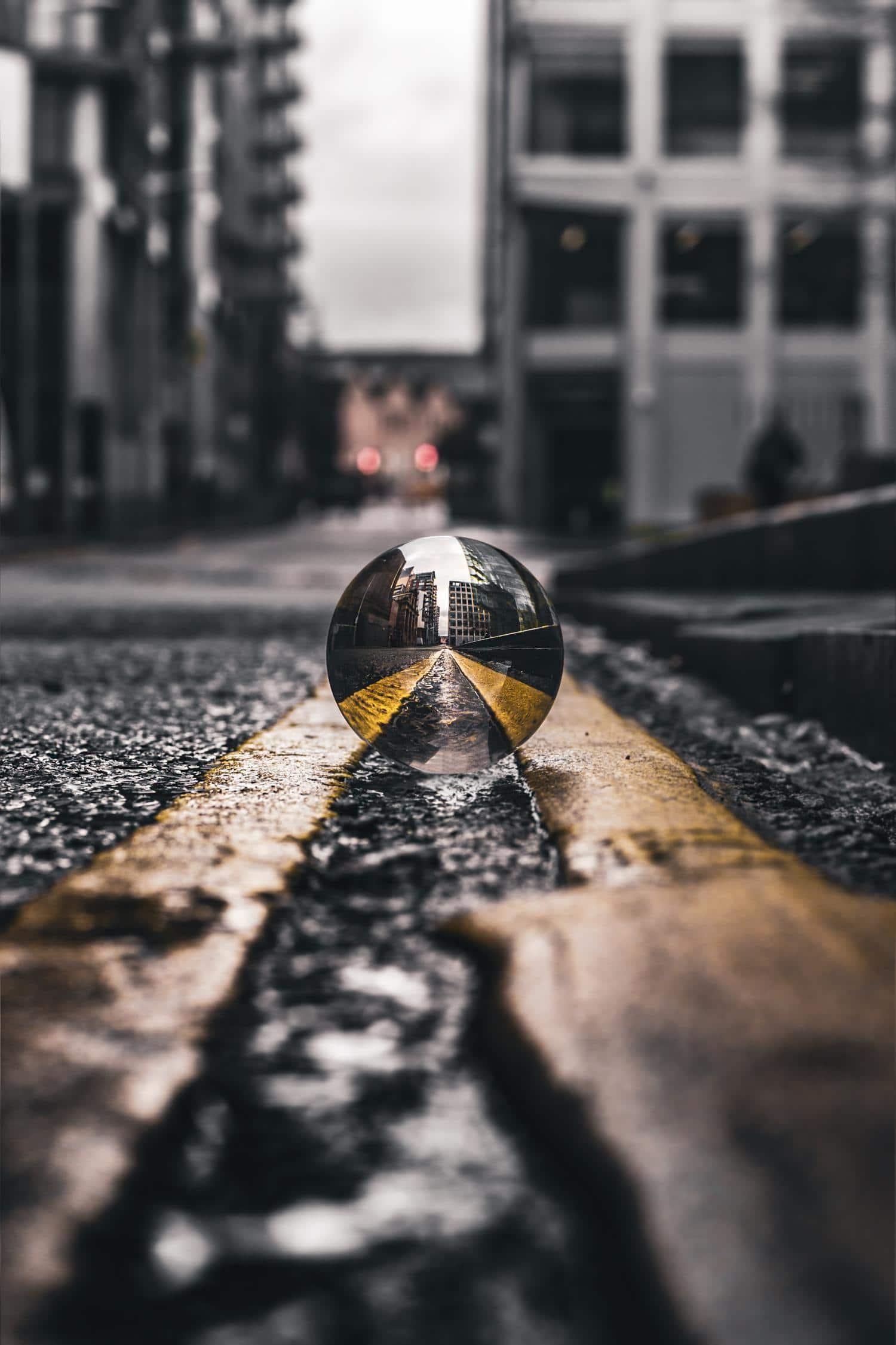 Bola de cristal con zona enfocada