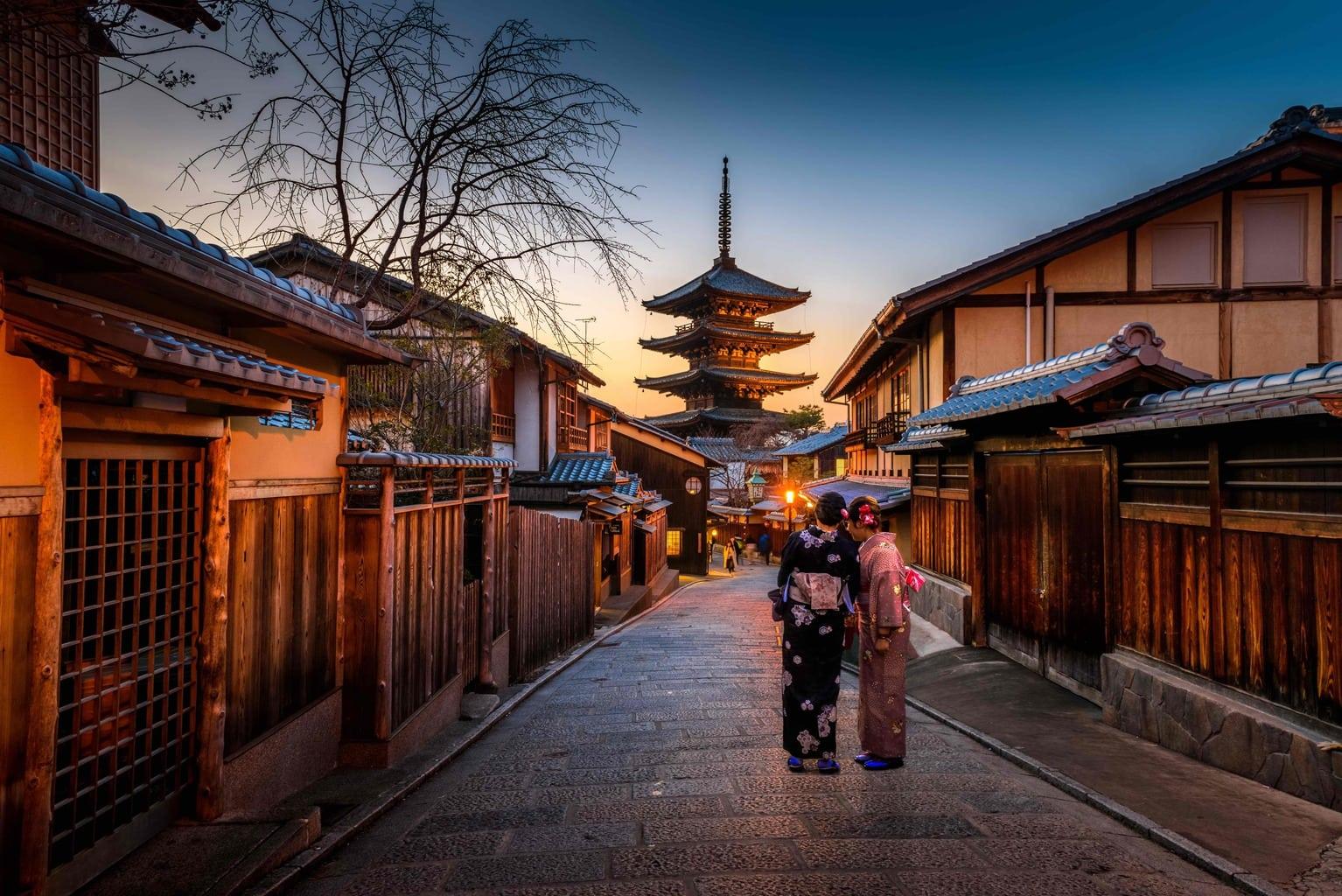 Fotografía en Japón de la luz durante la hora azul