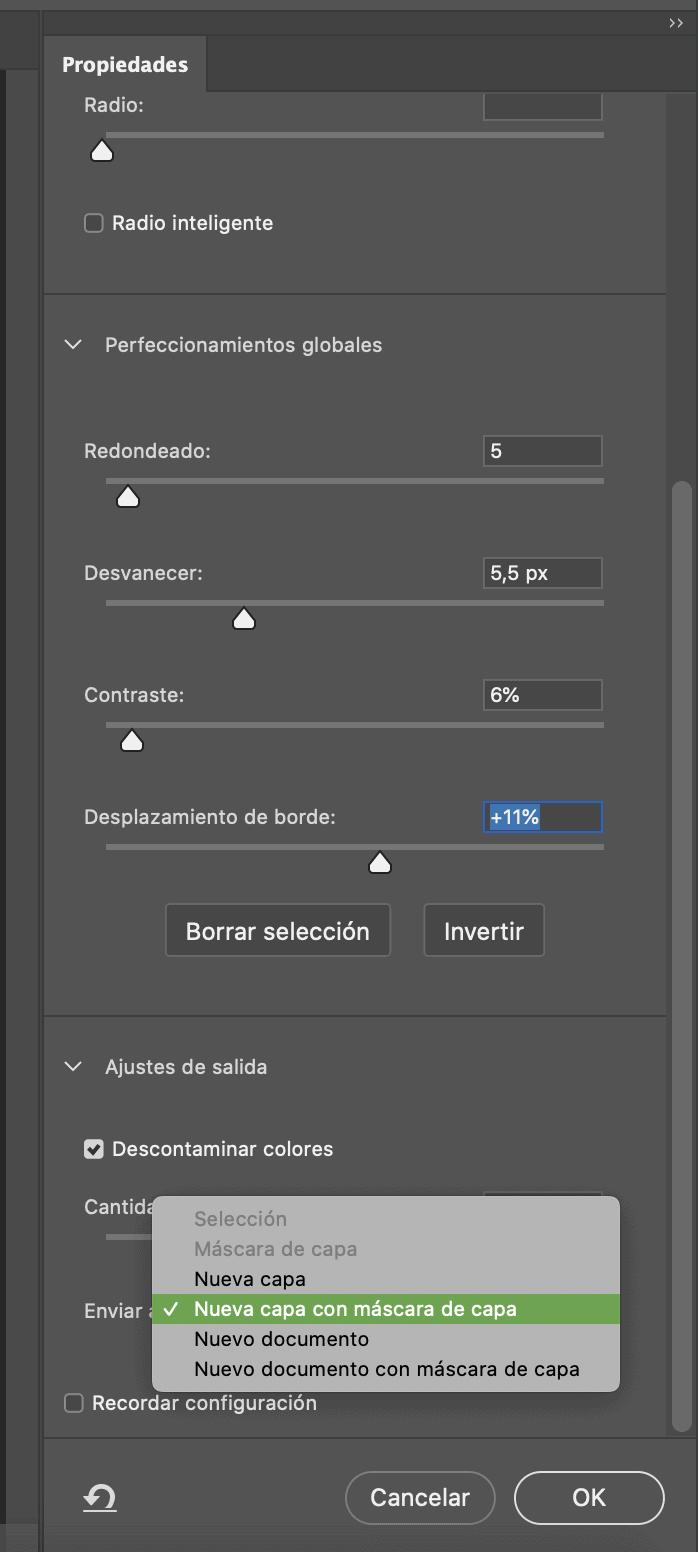 captura de pantalla de propiedades de selección en Photoshop