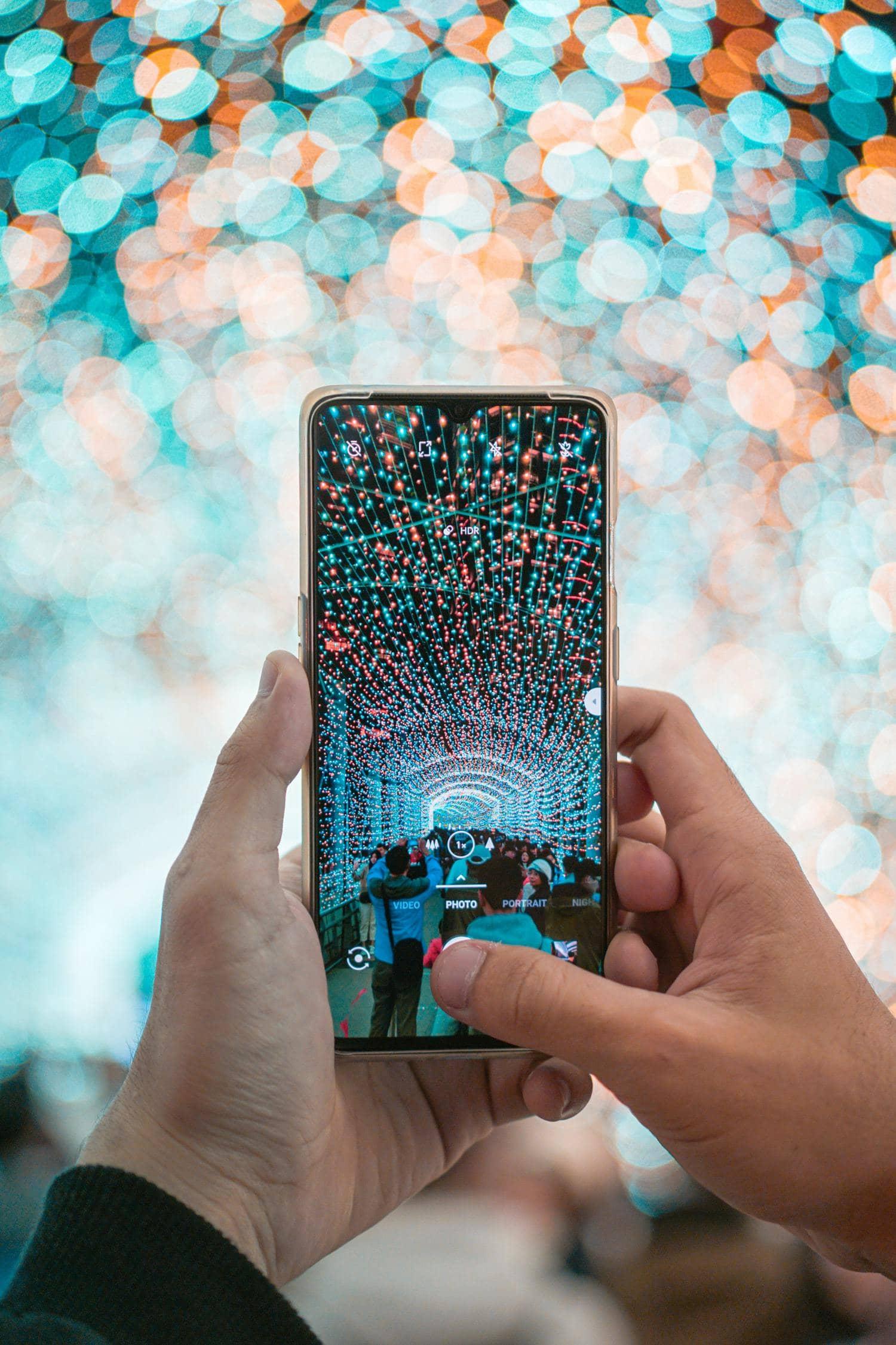 smartphone luz bokeh