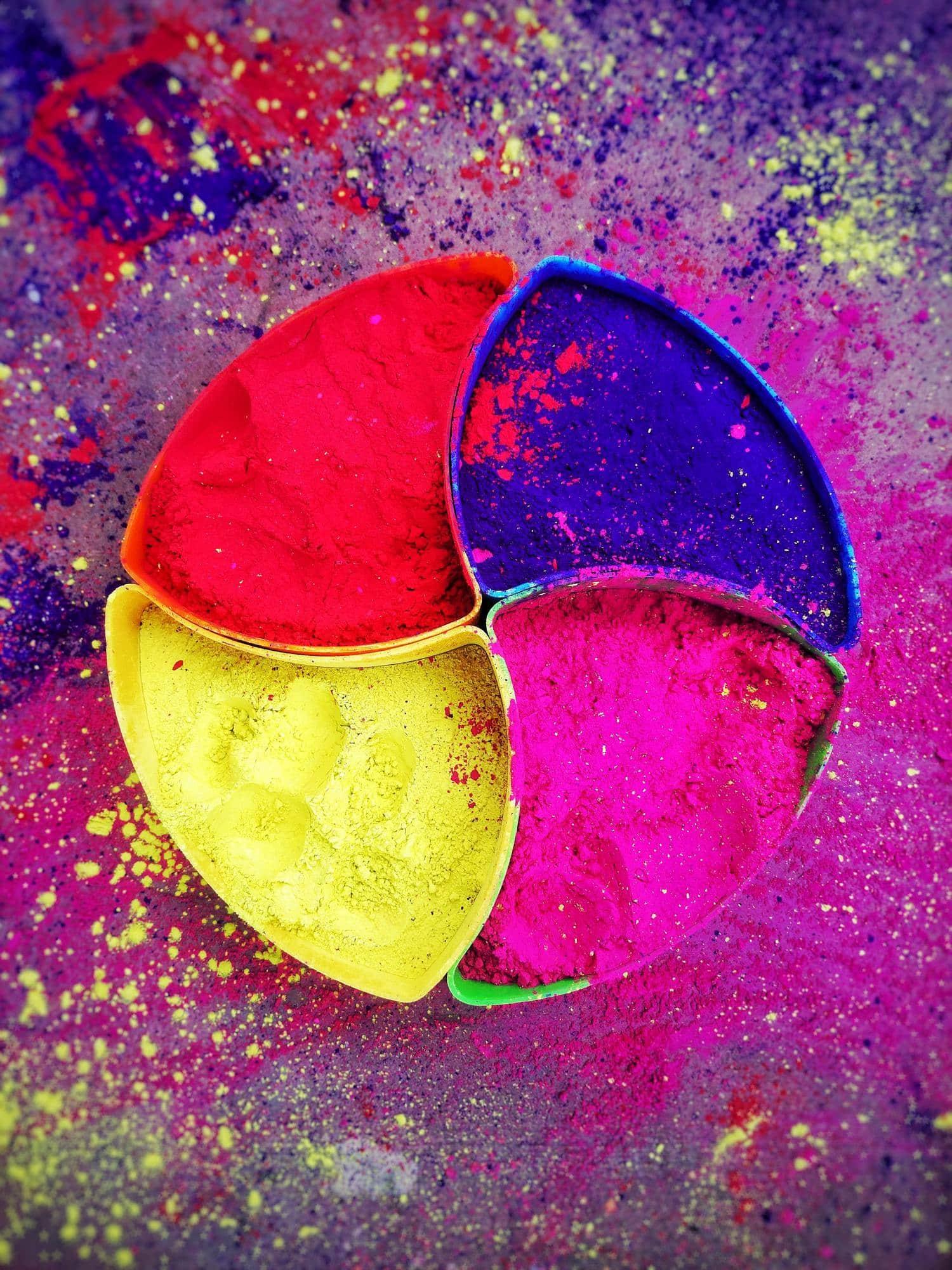 Polvos de tinte de color como ejemplo de composición fotográfica