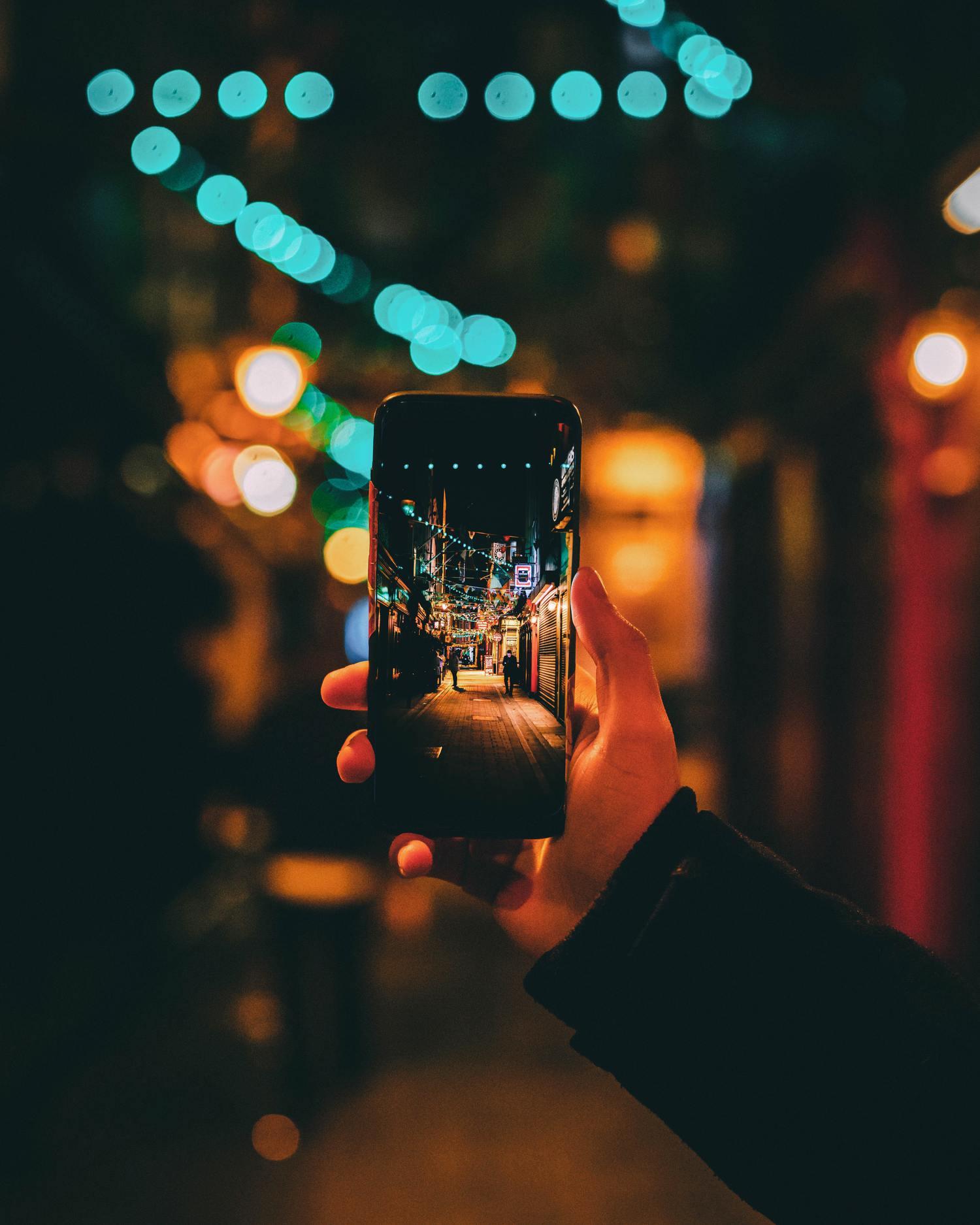 foto móvil noche calle
