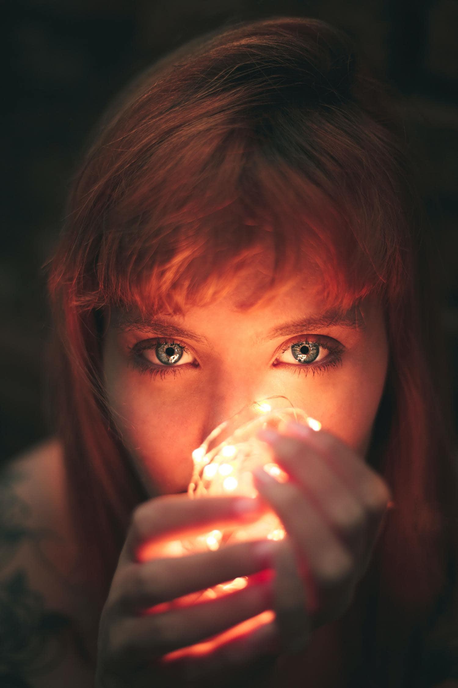 retrato iluminación mujer