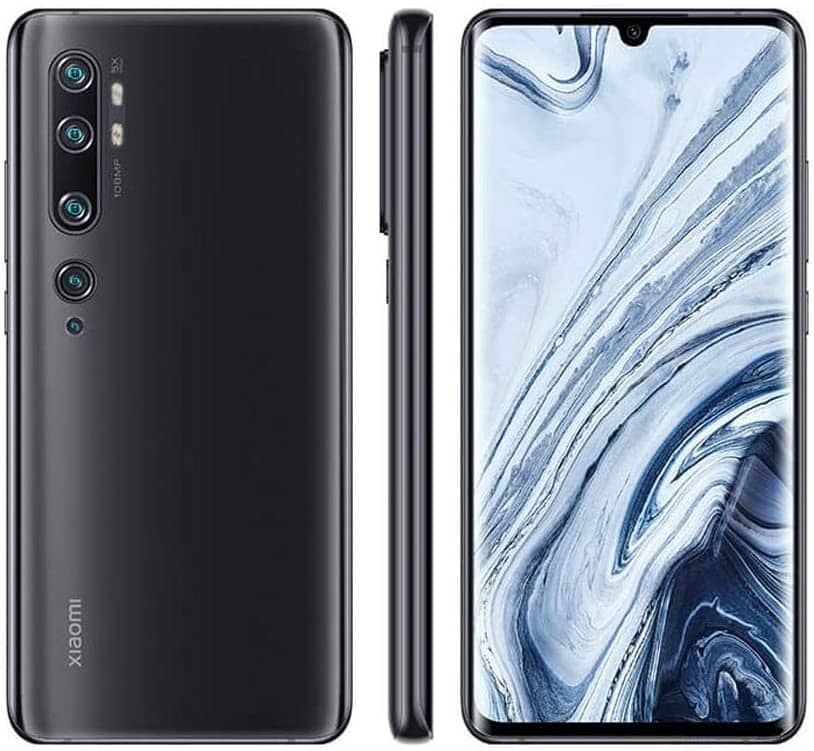 xiaomi note 10 vista frontal, lateral y trasera